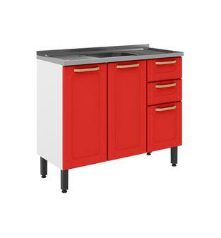 Balcão Bertolini Colors 03 Portas 02 Gavetas Vermelho Rouge 6015802