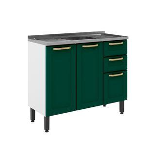 Balcão Bertolini Colors 03 Portas 02 Gavetas Verde Eco 6015804